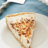 slice of Italian Cream Tart on a white plate