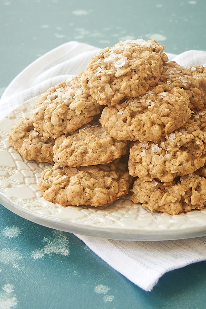 Salted Oatmeal Cookies served on a textured white plate