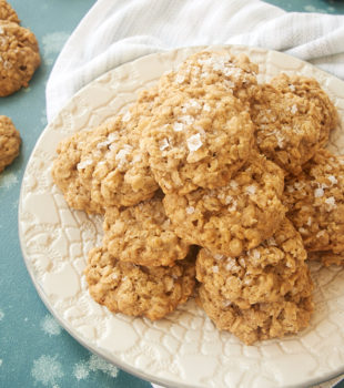 Salted Oatmeal Cookies on a white plate