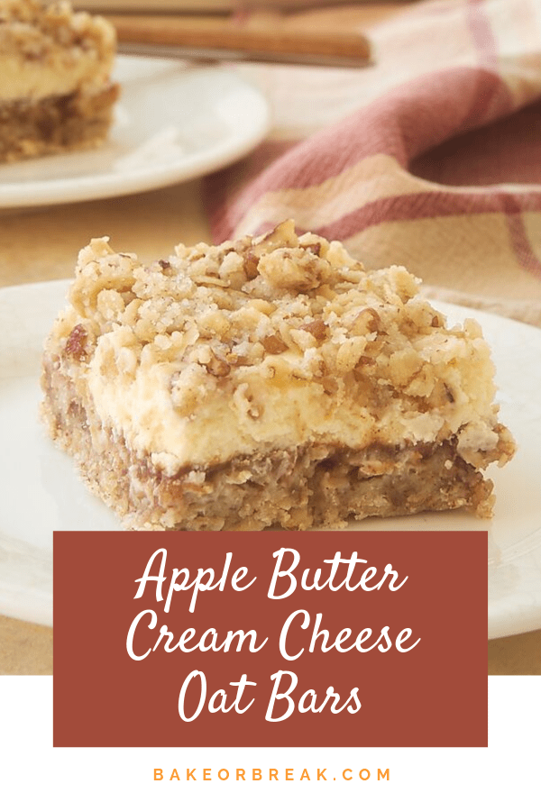 Apple Butter Cream Cheese Oat Bars combine a nutty crust, spiced apple butter, and sweet cream cheese for an amazingly delicious dessert. Sure to become an instant favorite! - Bake or Break #cheesecakebars #applebutter