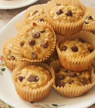 plate of Banana Oatmeal Chocolate Chip Muffins