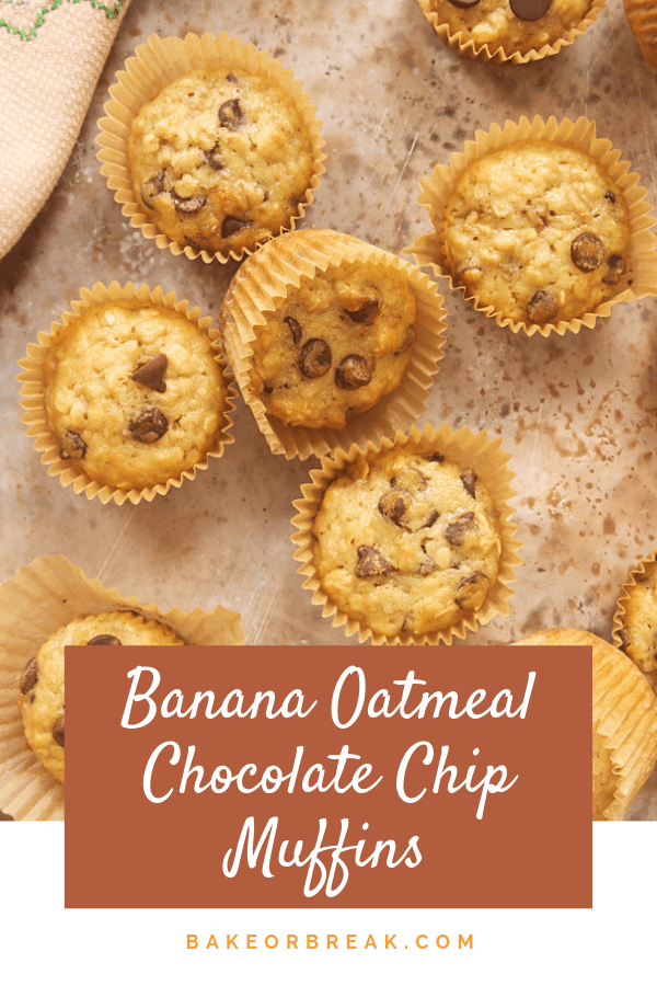 Chocolate chips and chewy oats make these Banana Oatmeal Chocolate Chip Muffins a favorite for breakfast or just for snacking! - Bake or Break #muffins #bananas #bananamuffins