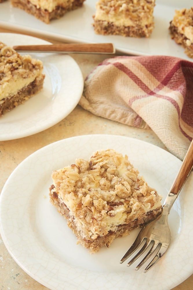 Apple Butter Cream Cheese Oat Bars on white plates
