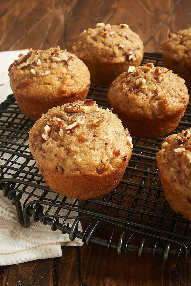 Pecan Spice Muffins on a wire rack