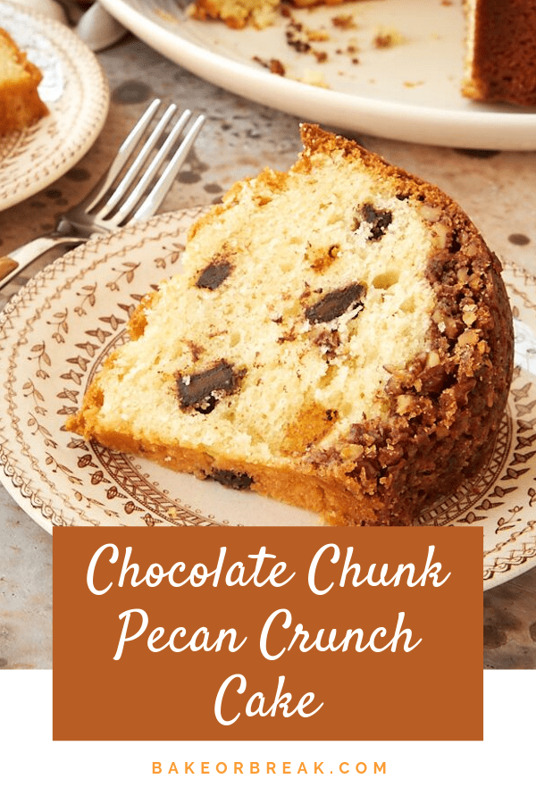 Chocolate Chunk Pecan Crunch Cake is packed with chocolate and a hint of orange, and it's all topped off with a nutty cinnamon topping. Such a great cake for everything from brunch to dessert! - Bake or Break #cake #bundtcake