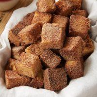 Cinnamon Sugar Pound Cake Bites in a lined basket