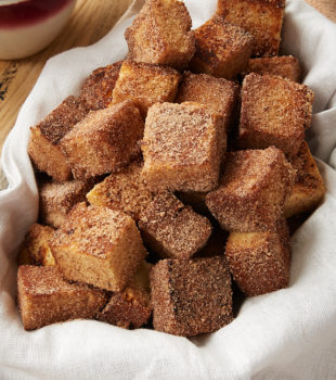 Cinnamon Sugar Pound Cake Bites in a lined basket