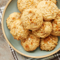 Coconut Cashew Toffee Cookies on a light green plate