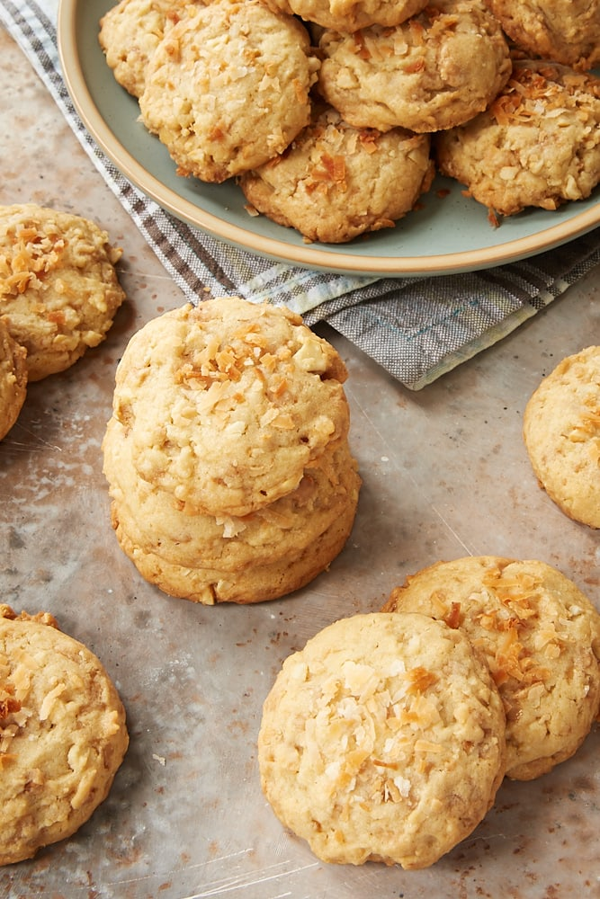stacks of Coconut Cashew Toffee Cookies
