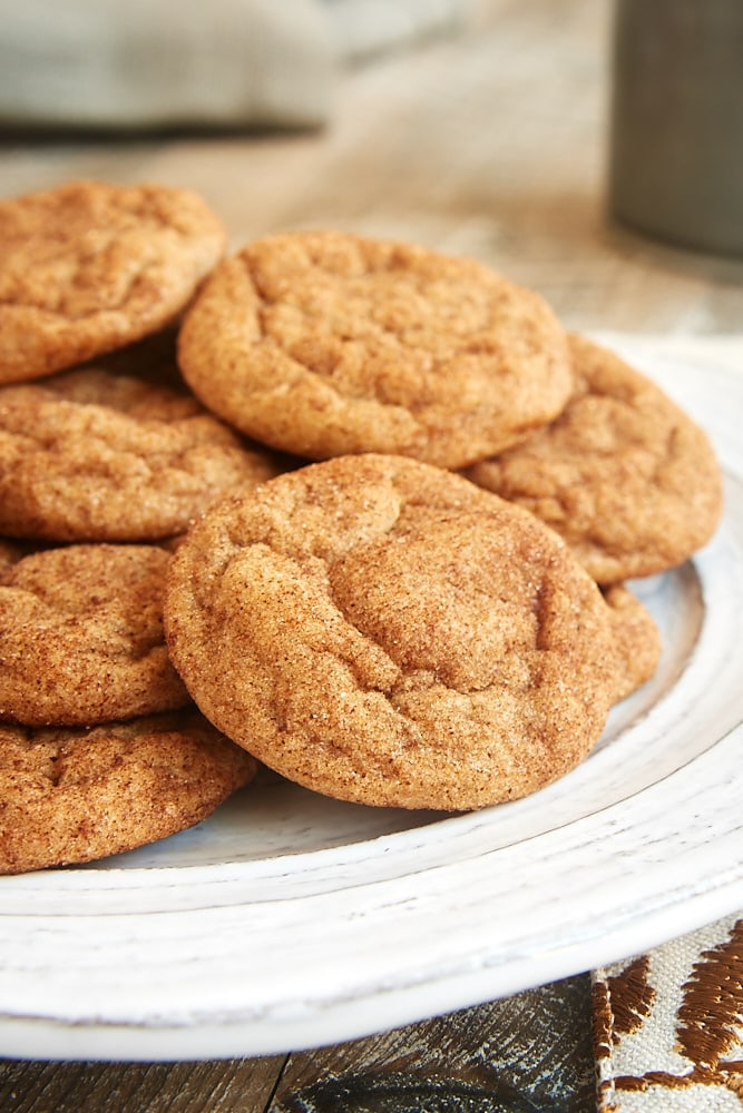 Cookie Butter Snickerdoodles served on a white plate