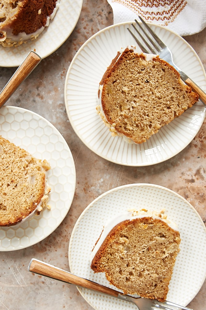 slices of Hazelnut Pear Bundt Cake