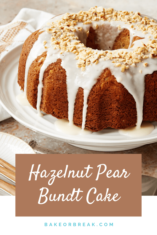 Hazelnut Pear Bundt Cake combines sweet pears and toasty hazelnuts for an absolutely lovely cake. Add the simple sour cream glaze for a pretty finish, or leave it unadorned for a great cake for brunch or snacking. - Bake or Break #cake #bundtcake #pears