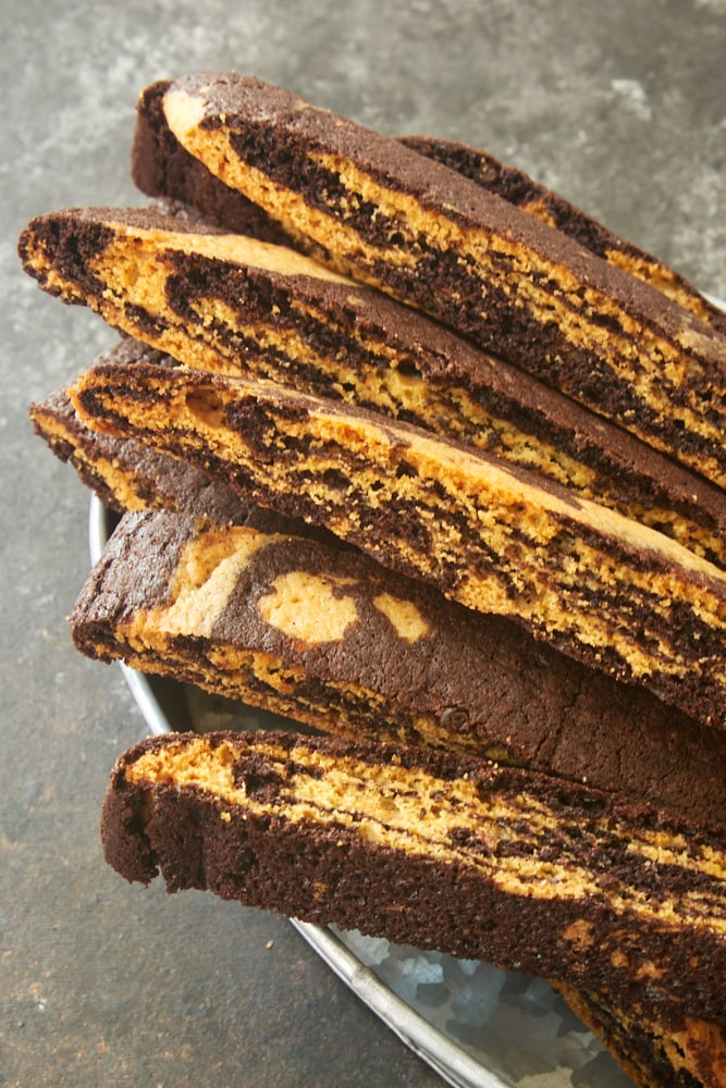 Chocolate Vanilla Marbled Biscotti in a metal serving basket