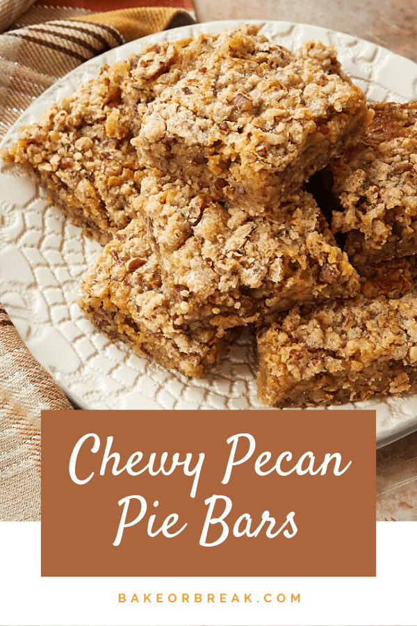 Chewy Pecan Pie Bars are a wonderfully delicious alternative to traditional pecan pie. These sweet, chewy, nutty bars are made a decadent filling that is irresistible. And no corn syrup! - Bake or Break #pie #pecans #pecanpie