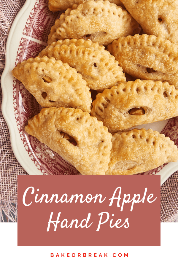 Cinnamon Apple Hand Pies are mini versions of a favorite pie. Made simple with an easy crust and a simple flavor focus, these little guys are a favorite! - Bake or Break #pies #handpies #apple