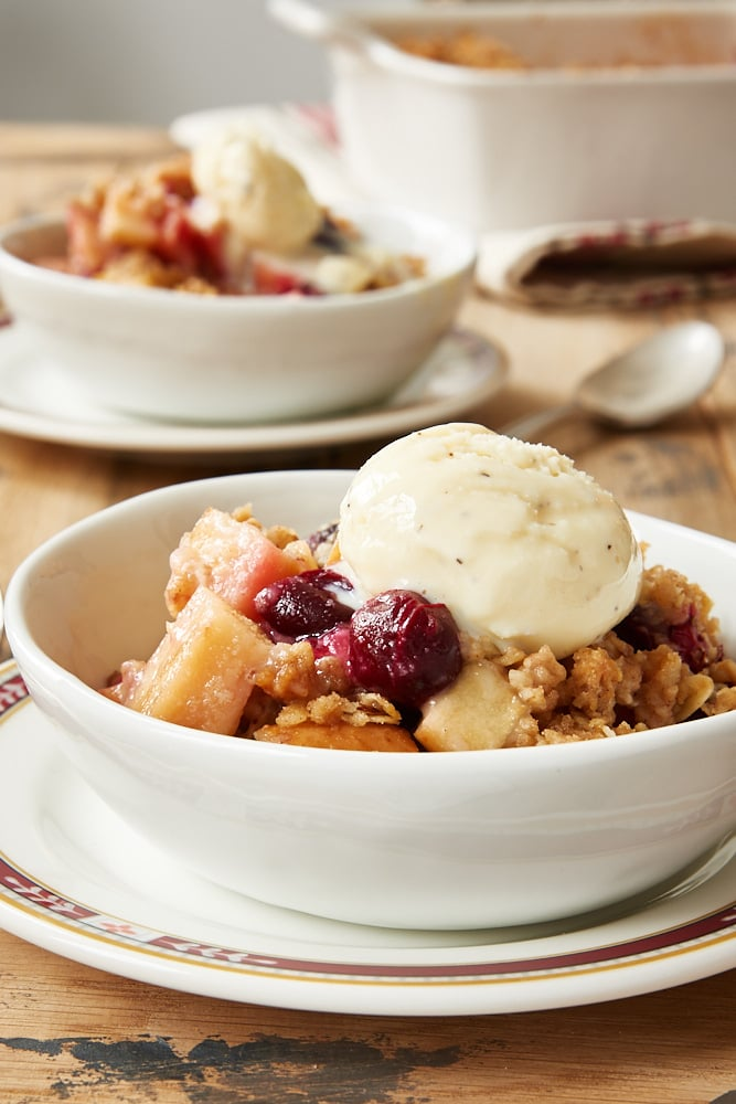 Cranberry Apple Crumble topped with vanilla ice cream