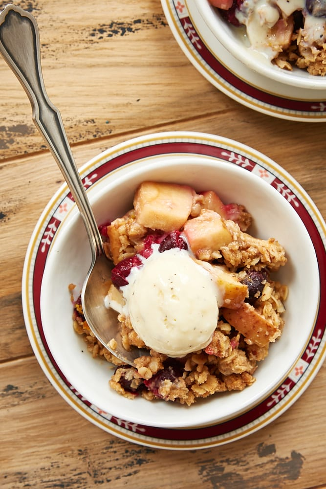 Cranberry Apple Crumble served with vanilla ice cream
