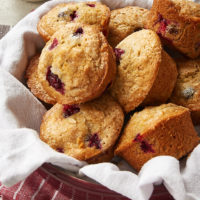 Cranberry Orange Muffins in a round red dish