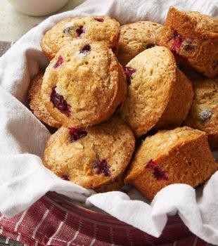 Cranberry Orange Muffins in a round red dish