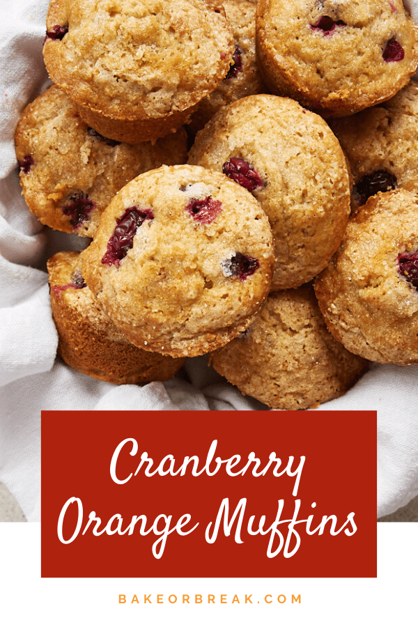 Cranberry Orange Muffins feature plenty of sweet, tart cranberries along with a bit of orange and a hint of cinnamon for a delicious treat for breakfast or snacking. - Bake or Break #muffins #breakfast #cranberries