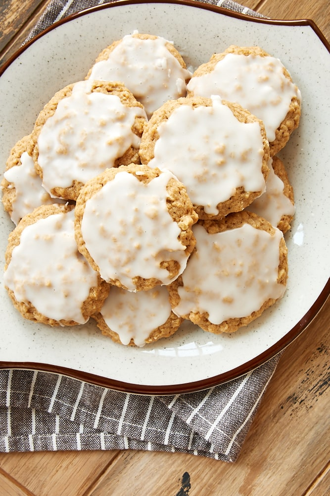 Spiced Oatmeal Cookies on a brown-rimmed plate