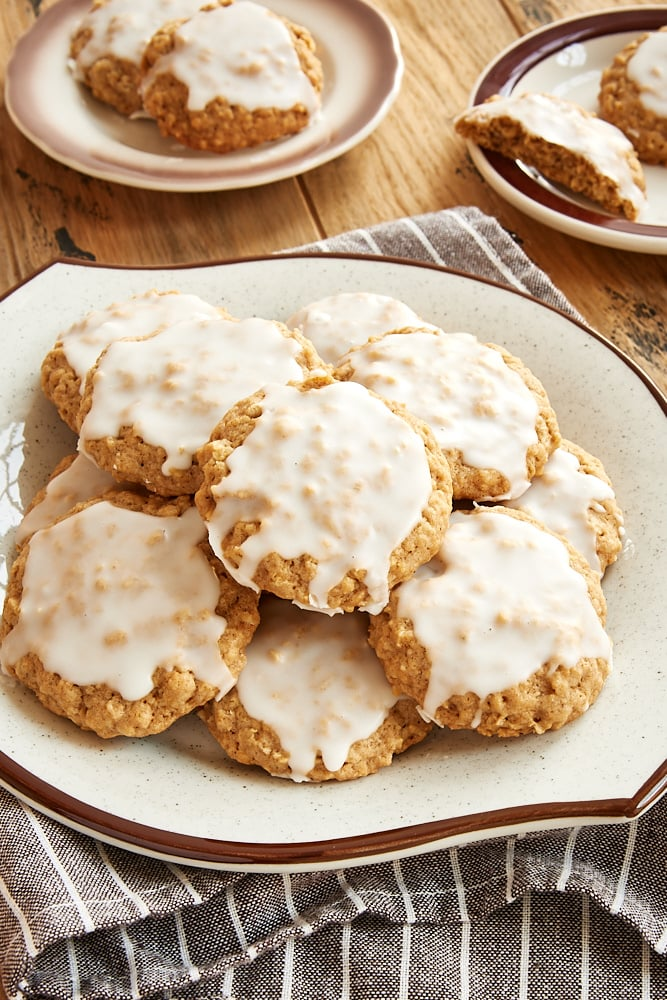 Spiced Oatmeal Cookies topped with a simple glaze