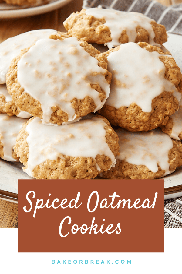 Spiced Oatmeal Cookies are jam-packed with a wonderful blend of spices. Top them with a simple glaze for an instant crowd-pleaser! - Bake or Break #cookies #oatmealcookies