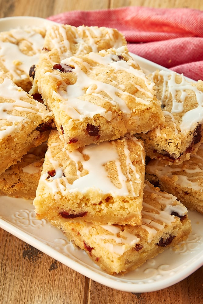 Cranberry White Chocolate Blondies served on a white tray