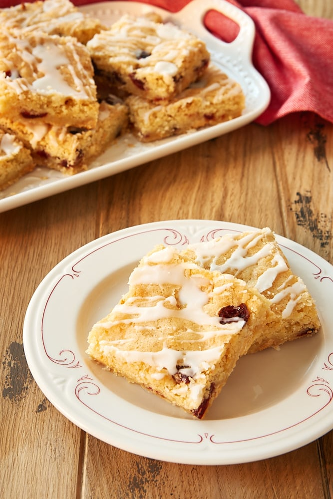 Cranberry White Chocolate Blondies on a white plate