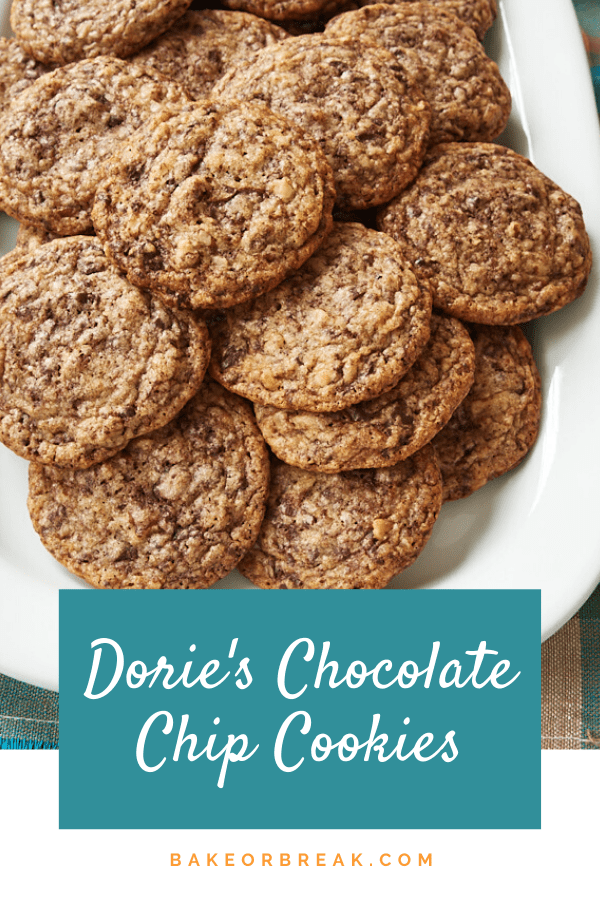Dorie's Chocolate Chip Cookies are that magical combination of crispy and chewy. And the best part is that they're jam-packed with lots and lots of chocolate! - Bake or Break #cookies #chocolatechipcookies