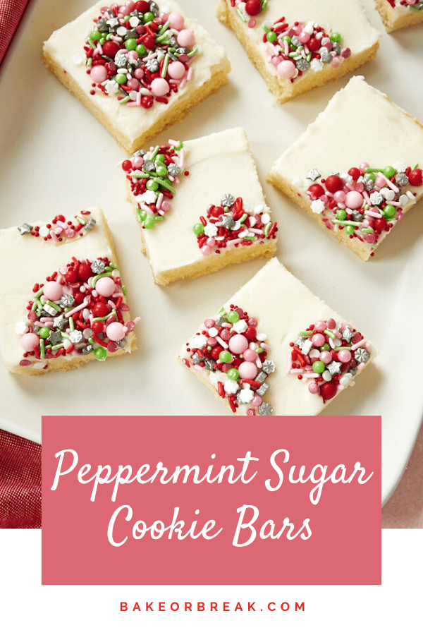 Peppermint Sugar Cookie Bars are a quick and easy treat featuring a favorite holiday flavor - peppermint! Add some pretty sprinkles or crushed candy canes for a simple way to dress them up. - Bake or Break #cookies #sugarcookies #peppermint