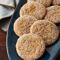 Soft Ginger Molasses Cookies on a blue plate