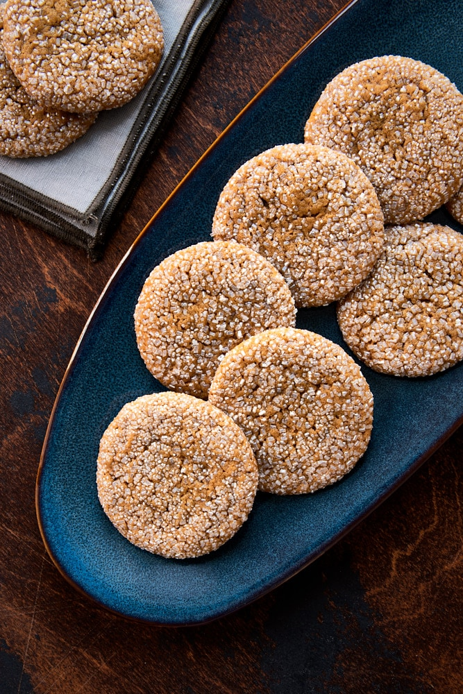 Soft Ginger Molasses Cookies served on a dark blue plate
