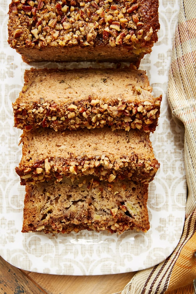 sliced Brown Butter Banana Bread on a floral patterned tray