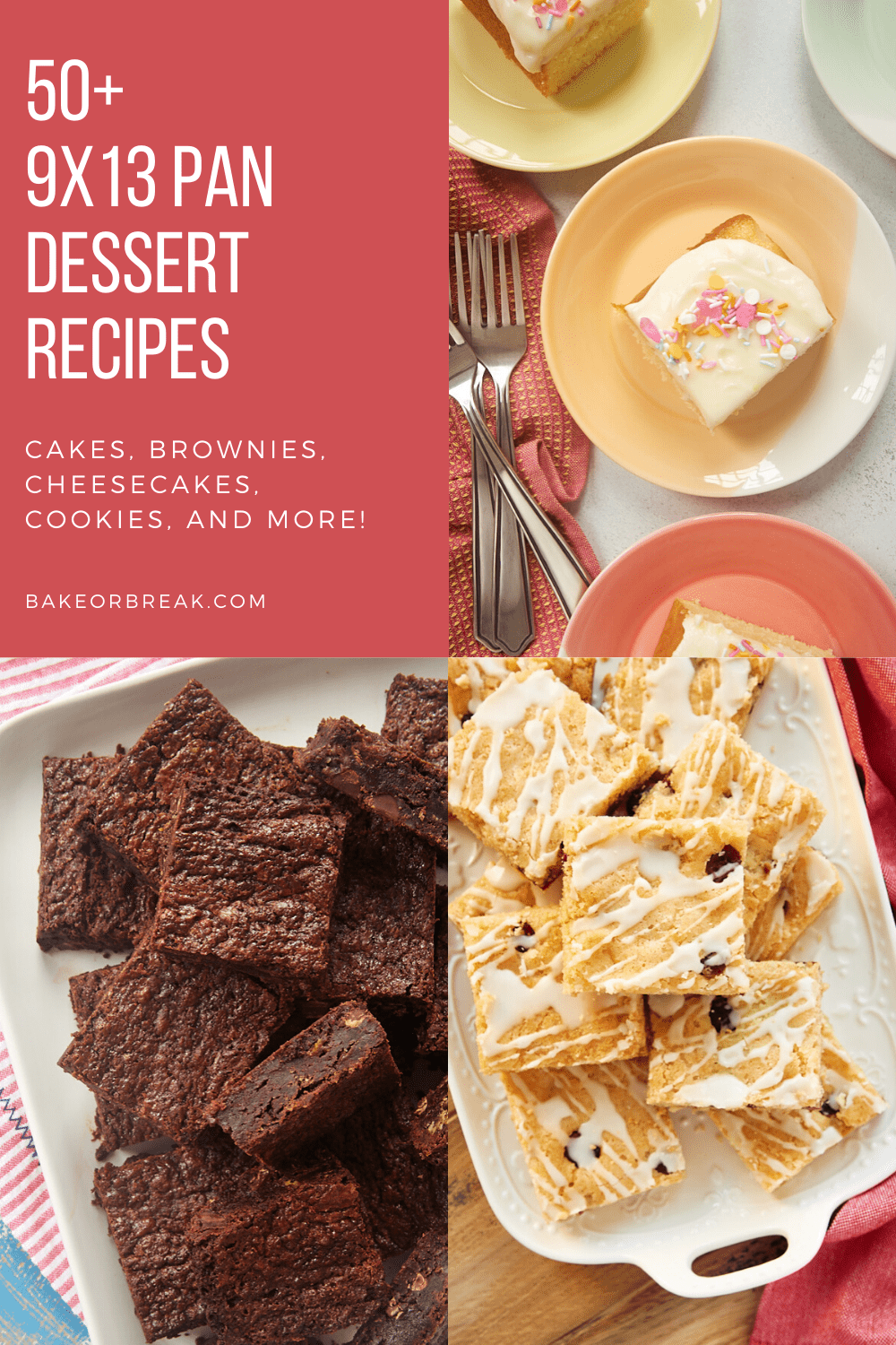 collection of dessert recipes made in a 9x13 pan