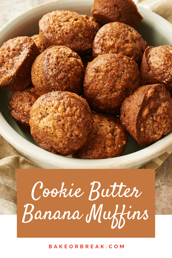 Cookie Butter Banana Muffins are a wonderfully delicious twist on classic banana muffins. The spices from the cookie butter are the perfect complement to sweet bananas! - Bake or Break #muffins #bananas #cookiebutter #breakfast