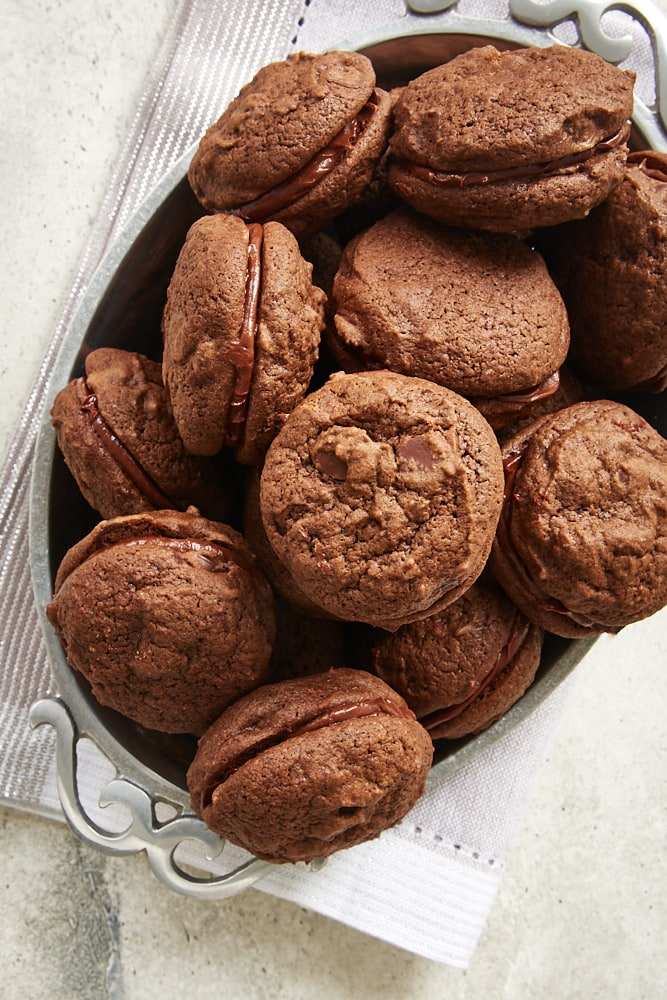 Double Chocolate Sandwich Cookies served in a shallow pewter bowl