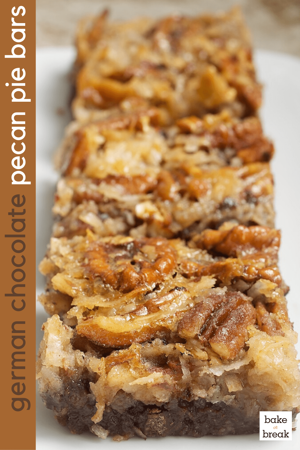 German Chocolate Pecan Pie Bars served on a plate