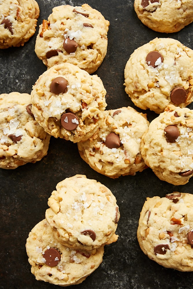 Sweet and Salty Chocolate Chip Cookies on a dark surface