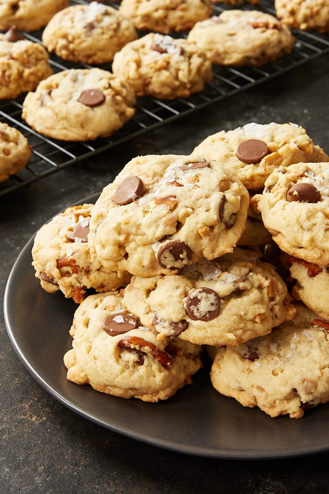 Sweet and Salty Chocolate Chip Cookies on a dark gray plate