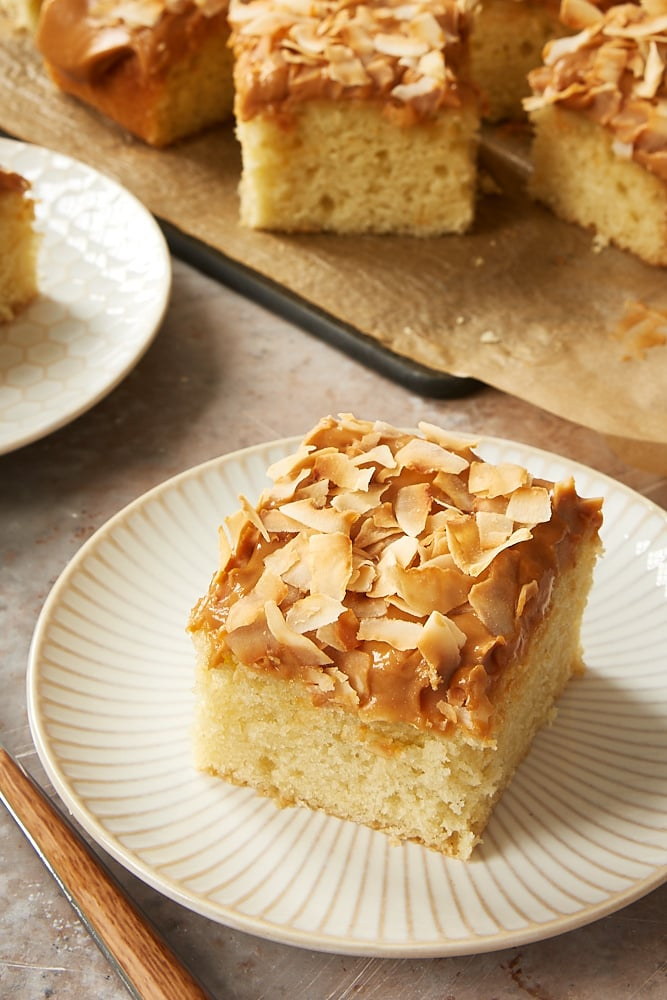 slice of Coconut Cake with Dulce de Leche Frosting on a white and beige plate