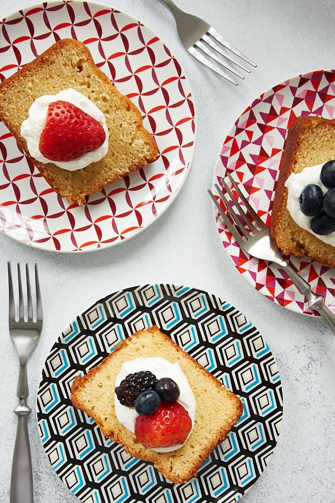 slices of Sour Cream Pound Cake on colorful plates