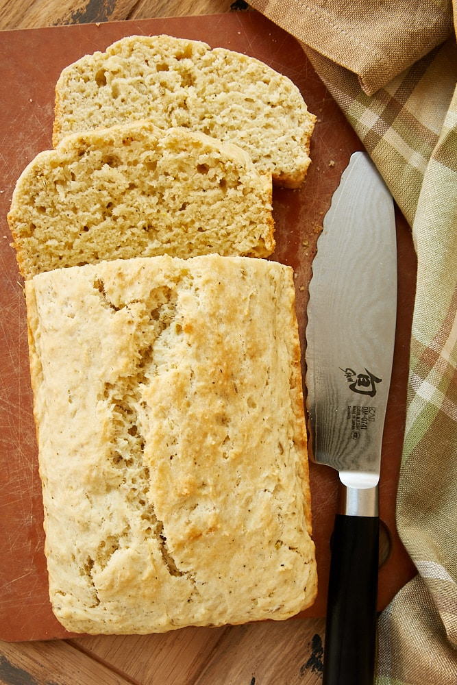 Easy Herbed Quick Bread on a cutting board