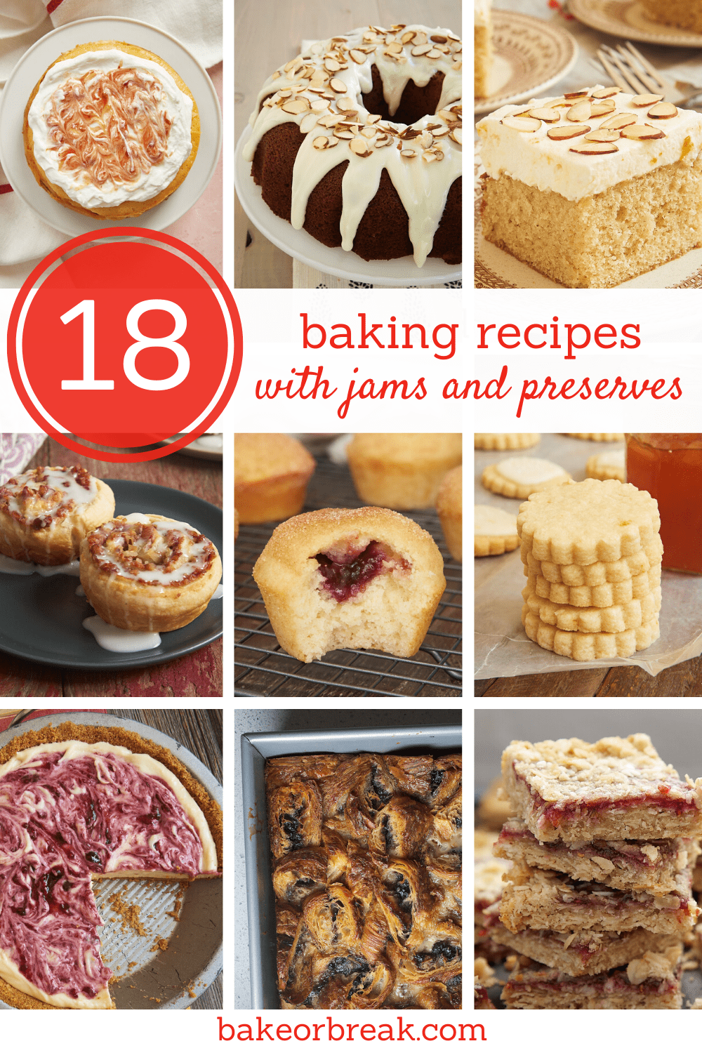 collection of baking recipes made with jams and preserves