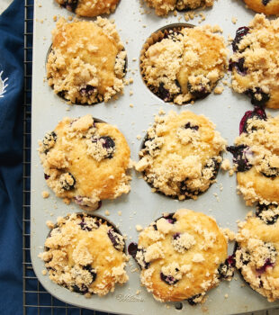 overhead view of Blueberry Coffee Cake Muffins in a muffin pan on a wire rack