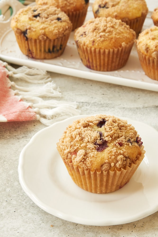 Berry Cheesecake Muffin on a white plate