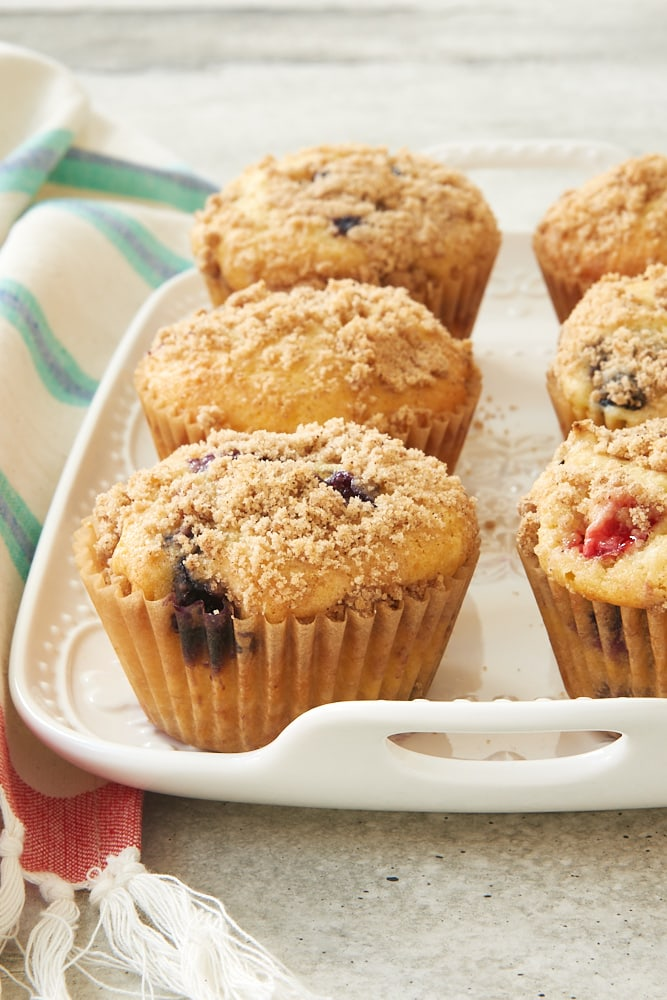 Berry Cheesecake Muffins on a white tray
