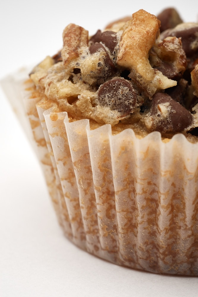 close-up view of the topping on a Chocolate Chip Cupcake