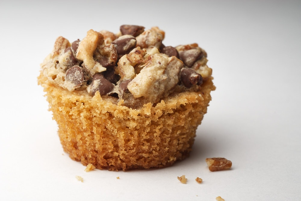 close-up view of a Chocolate Chip Cupcake