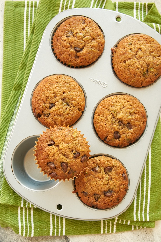 overhead view of Chocolate Chip Zucchini Muffins in a muffin pan